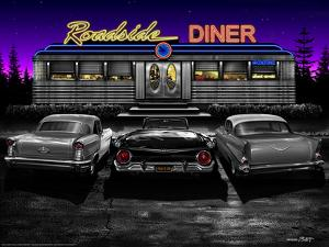 Roadside Diner - Black and White by Helen Flint