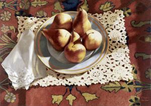 Pears in a Bowl on an Oriental Rug by Helen J^ Vaughn