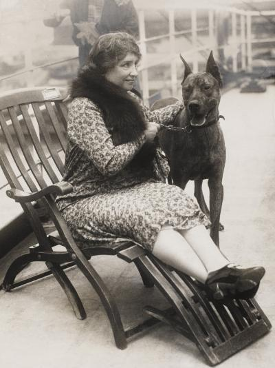 Helen Keller with Her Great Dane--Photographic Print