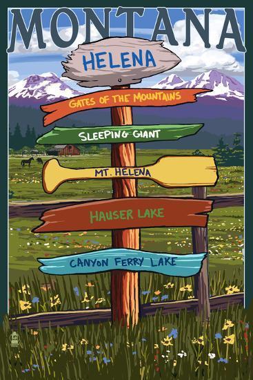 Helena, Montana - Destination Signpost-Lantern Press-Art Print