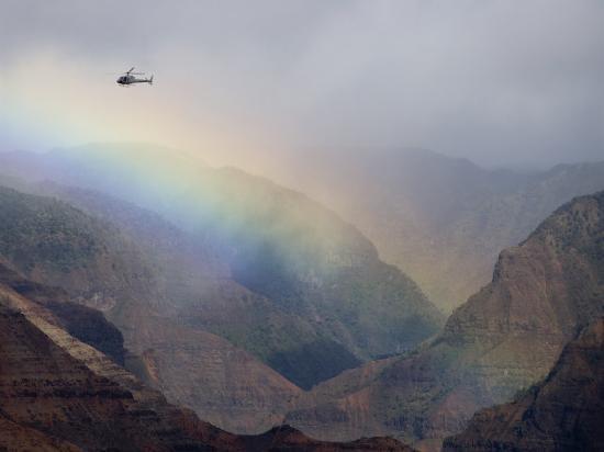 Helicopter and Rainbow at Waimea Canyon, Waimea Canyon State Park, Kauai, Hawaii-Holger Leue-Photographic Print