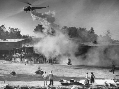 Helicopter Bugproofing Lawns and Forests--Photographic Print