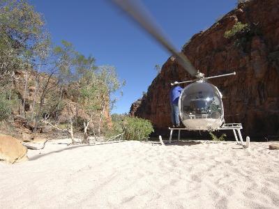 Helicopter on Sand at Bullo River Station, Near Kununurra, Northern Territory, Australia-Michael Gebicki-Photographic Print