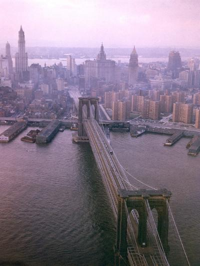 Helicopter View of the Brooklyn Bridge, New York City-Dmitri Kessel-Photographic Print