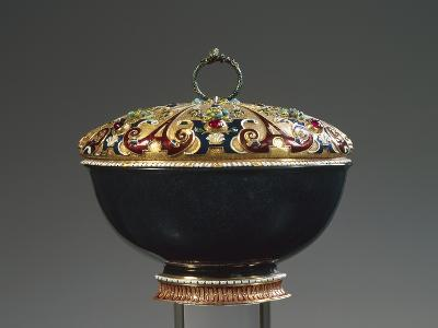Heliotrope Bowl with Enameled Gold Lid Set with Rubies, 16th Century--Giclee Print