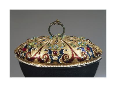 Heliotrope Bowl with Enameled Gold Lid Set with Rubies, Detail of Lid, 16th Century--Giclee Print