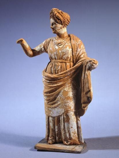 Hellenistic Tanagrina, Terracotta Statue from Tanagra, Greece--Giclee Print