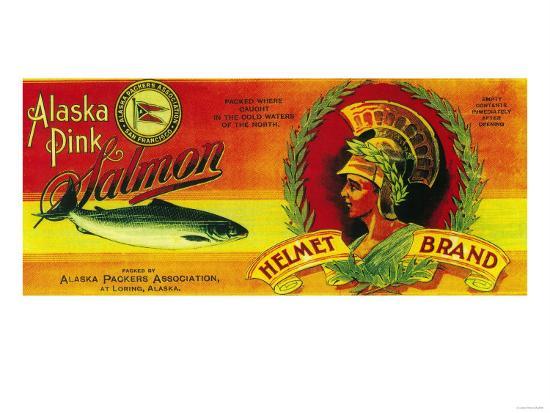 Helmet Salmon Can Label - Loring, AK-Lantern Press-Art Print