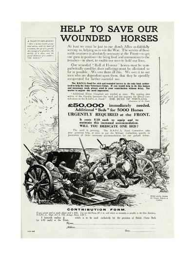 Help to Save Our Wounded Horses 1917--Giclee Print