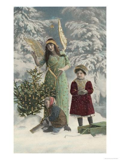 Helpful Angel Accompanies Two Children into the Woods to Help Them Choose Their Tree--Giclee Print