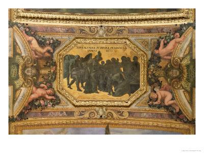 Helping the People During the Famine of 1662, Ceiling Painting from the Galerie Des Glaces-Charles Le Brun-Giclee Print