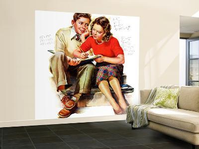 """""""Helping with Homework,"""" May 25, 1940-Frances Tipton Hunter-Wall Mural – Large"""