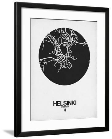 Helsinki Street Map Black on White-NaxArt-Framed Art Print