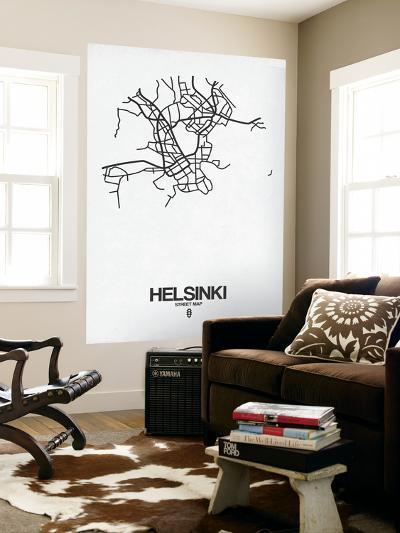 Helsinki Street Map White-NaxArt-Wall Mural