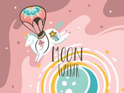 Illustration of Tattooed Cosmonaut Unicorn by Helter skelter
