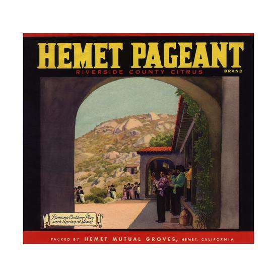 Hemet Pageant Brand - Hemet, California - Citrus Crate Label-Lantern Press-Art Print