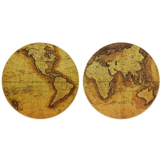 """""""Hemisphere A&B"""" Circular Gold Canvas Giclee Printed on 2"""" Wood Stretcher Wall Art--Home Accessories"""