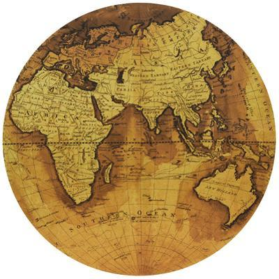 Hemisphere B - Circular Gold Canvas Giclee Printed on 2 - Wood Stretcher Wall Art