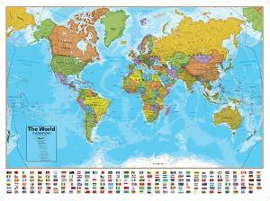 World maps artwork for sale posters and prints at art hemispheres blue ocean world wall map laminated educational poster gumiabroncs Images