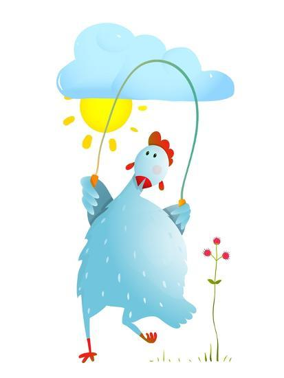 Hen Jumping Rope Childish Cartoon. Chicken Jump, Skipping Comic with Cloud and Sun Cartoon, Exercis-Popmarleo-Art Print