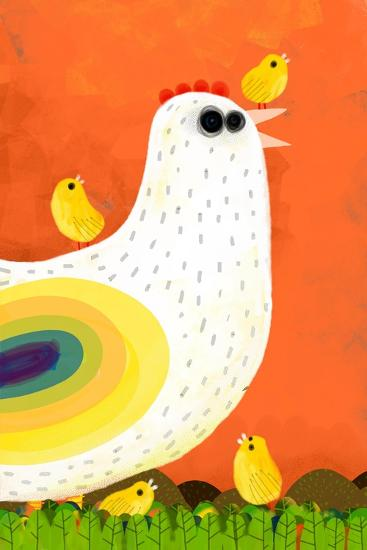 Hen Takes Care of its Chicks-Complot-Art Print