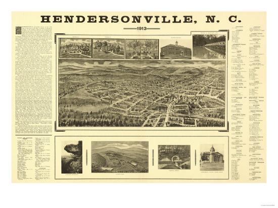 Hendersonville, North Carolina - Panoramic Map-Lantern Press-Art Print