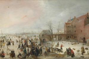 A Scene on the Ice Near a Town, C. 1615 by Hendrick Avercamp
