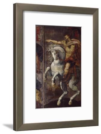 Tenture de cuir peint, les Héros Romains. Marcus Curtius