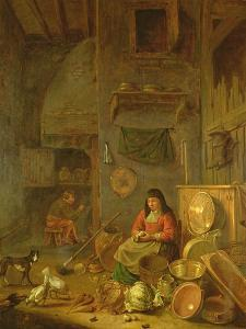 A Kitchen Interior with a Woman Peeling Potatoes Beside a Dog by Hendrik Martensz Sorgh