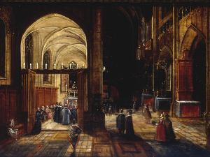 A Capriccio View of a Gothic Cathedral Interior with a Mass being Celebrated in a Side Chapel, 1630 by Hendrik van Steenwyck