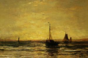 Return of the Fleet at Sunset by Hendrik William Mesdag