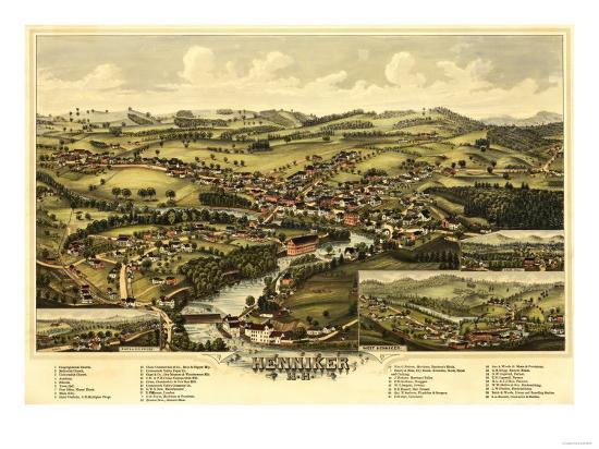 Henniker, New Hampshire - Panoramic Map-Lantern Press-Art Print