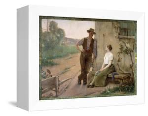 Peasant Couple in a Farmyard, 1889 by Henri Adrien Tanoux