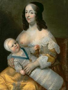 Louis XIV as an Infant with His Nurse Longuet De La Giraudière by Henri Beaubrun