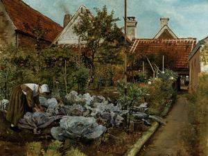 Flemish Garden, La Coupeuse de Choux, c.1864 by Henri De Braekeleer