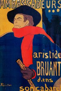 Aristide Bruant, Singer and Composer, at Les Ambassadeurs on the Champs Elysees, Paris, 1892 by Henri de Toulouse-Lautrec