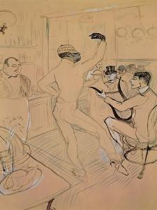 Chocolate Dancing in Achille's Bar, Drawing, 1894 by Henri de Toulouse-Lautrec
