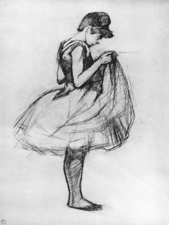 Dancer Adjusting Her Costume and Hitching Up Her Skirt, 1889