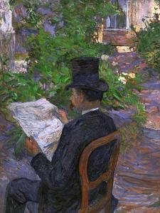 Desire Dihau (Reading a Newspaper in the Garden), 1890 by Henri de Toulouse-Lautrec