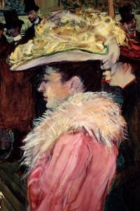 The Dance of the Moulin Rouge: Detail of an Elegant Woman Dressed in Pink, 1889-90 by Henri de Toulouse-Lautrec