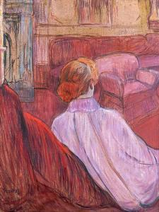 Woman Seated on a Red Settee by Henri de Toulouse-Lautrec
