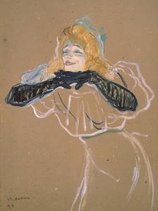 """Yvette Guilbert (1867-1944) Singing """"Linger, Longer, Loo,"""" 1894 by Henri de Toulouse-Lautrec"""