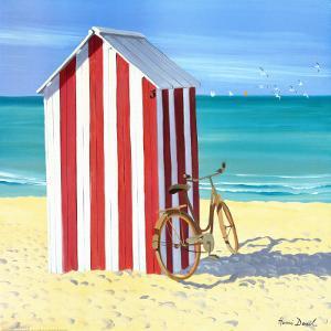 Candy Striped Beach Shack by Henri Deuil