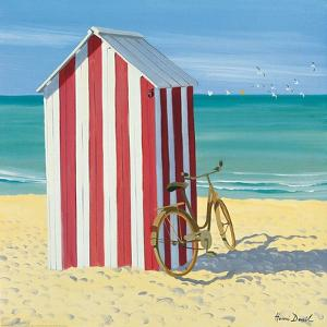 Red and White Beach Hut by Henri Deuil