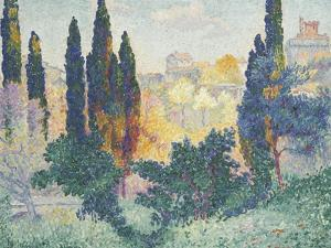 Les cyprès à Cagnes by Henri Edmond Cross