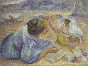 Mother Playing with Her Child, C.1897 by Henri-Edmond Cross