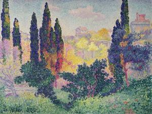 The Cypresses at Cagnes, 1908 by Henri Edmond Cross