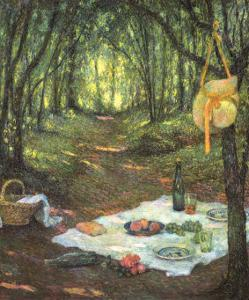 Picnic in the Woods by Henri Eugene Augustin Le Sidaner