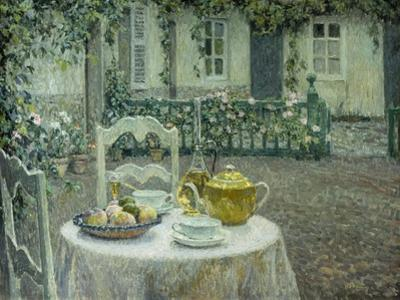 The Pink Tablecloth by Henri Eugene Augustin Le Sidaner