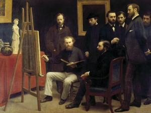 A Studio at Batignolles (Homage to Manet) by Henri Fantin-Latour